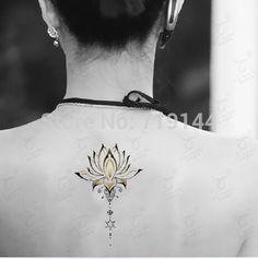 Loto tatuaje temporal pegatinas tatuaje sexy flor resistente al agua tatuaje falso diseños coloridos de la espalda, 2 unids/lote