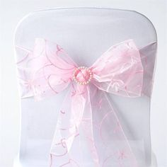 """5 PCS Pink Embroidered Chair Sashes Catering Wedding Party Decorations - 7.5x108"""""""