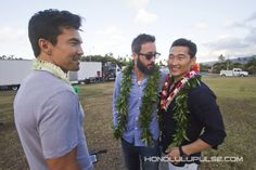 """Ian Anthony Dale, left, Alex O'Loughlin and Daniel Dae Kim share a moment together at the sixth season blessing for """"Hawaii Five-0"""" on Wednesday.."""