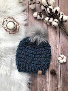 8acb7991283 Adult Chunky Knit Fur Pom Pom Hat Denim Blue Faux Fur Pom-Pom Beanie Bulky  Knitted Hat for Women War