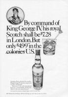 King George IV Scotch 1971 Ad. London, Paris, all over the world - just as expensive as other top brands. But here, its the only one you can buy for a remarkable $4.99 a 5th. And its the very same Scotch! Imported from Scotland. Sole Importer USA Munson Shaw Co.