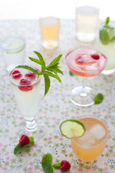 Summery garnishes can make a plain old lemon soda look rather elegant.  Fresh mint, a little lime or a couple raspberries can make any drink feel like a special occasion. It can also be interesting to use all different glasses even for the same drink. This way everyone can hopefully remember his or her glass!