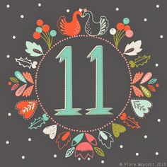 Christmas Advent day 11 by Flora Waycott Christmas Fonts, Christmas Graphics, Christmas Mugs, Christmas Printables, Vintage Christmas, Christmas Crafts, Christmas Decorations, Merry Christmas And Happy New Year, 12 Days Of Christmas