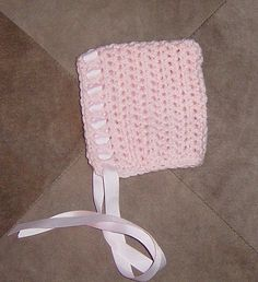 Newborn Crochet Baby Bonnet with Ribbon Ties by OhioCrochetLady, $16.00