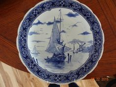 "Delfts Blue White 12"" Plate Charger Royal Sphinx Maastricht Holland Sailboat"