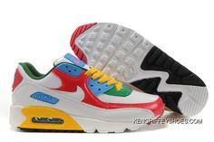 new concept c7e58 3f568 Womens Nike Air Max 90 Shoes White Red Blue Green Yellow,nike Free Trail, nike Clearance Store Near Me,low Price Best