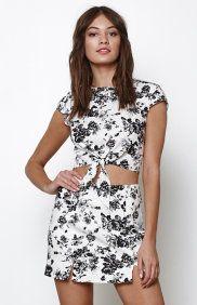 Linen Floral Print Mini Skirt