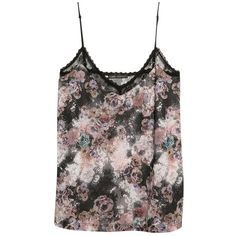 Mango Floral Lace Top, Black ($20) ❤ liked on Polyvore featuring tops, shirts, tank tops, tanks, black lace top, black lace tank top, floral shirt, v neck shirts and lace sleeve shirt