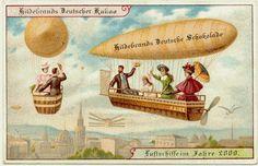 Utopia - airships in year 2000, postcard (1900)