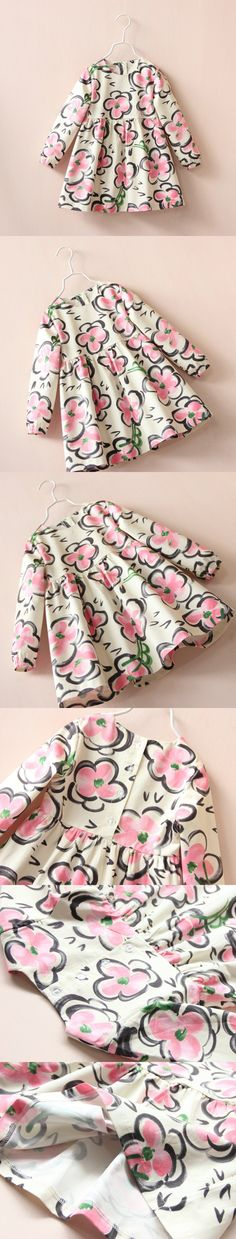 2017 Autumn Girl Dress Baby Clothes floral Girls long sleeve Fashion Kids Clothes Girls Dress $24