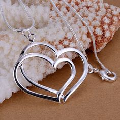 925 Sterling Silver Jewelry Pendants Fine Fashion Cute Silver Plated Heart Necklaces