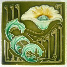 Antique English 'Hibiscus' Art Nouveau Majolica Ceramic Tile