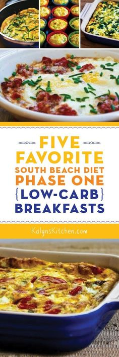 Favorite South Beach Diet Phase One (Low-Carb) Breakfasts; all these favorite breakfasts are also gluten-free. [found on ]Five Favorite South Beach Diet Phase One (Low-Carb) Breakfasts; all these favorite breakfasts are also gluten-free. Low Carb Recipes, Diet Recipes, Healthy Recipes, Healthy Food, Low Carb Breakfast, Breakfast Recipes, Breakfast Ideas, Atkins Breakfast, 1200 Calorie Diet Meal Plans