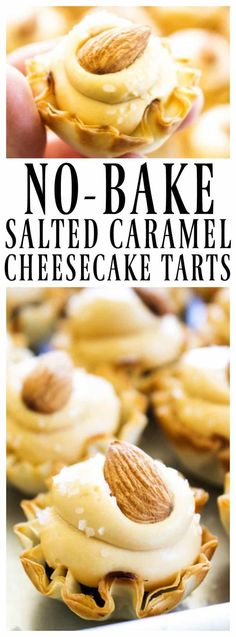 No-Bake Salted Caramel Cheesecake Tarts - A Dash of Sanity Salted Caramel Cheesecake, Caramel Tart, Cheesecake Recipes, Salted Caramels, Mini Cheesecake Tarts, Caramel Pecan, Cheesecake Bars, Mini Desserts, No Bake Desserts