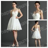Wholesale Ball Gown White Organza Sweetheart Mini Length Lace Wedding Dress