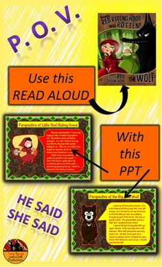 This PowerPoint presentation features characters from five different folktales. Characters from the folktales give their point of view or perspective on each other and events in the story.