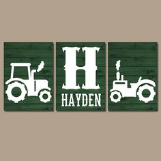 Tractor Wall Art- Canvas or Prints- Rustic Country Nursery Pictures- Big Boy Bedroom- Baby Boy Name- Tractor Decor- Green Faux Wood Set of 3 Jungle Theme Nursery, Baby Nursery Diy, Baby Room Diy, Baby Nursery Themes, Baby Nursery Neutral, Baby Boy Nurseries, Country Boy Names, Country Girl Life, Tractor Decor