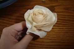 Cute little rose made from coffee filters