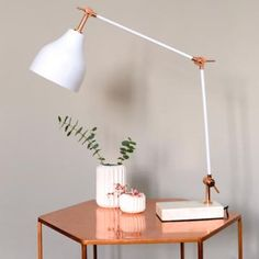 Stone And Copper Angled Desk Lamp