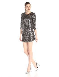 Parker #Womens #Petra #LongSleeve All Over #Embellished #Zippy Dress #Dresses #Fuscous #Parker @parkernewyork #PolkaDot #Polyester #WTS #WhoTopsSyle