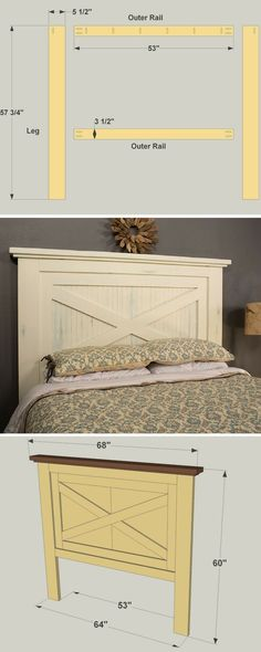 With its country-casual style, this headboard can blend into a variety of decorating styles. It's sized to work with a Queen-size mattress, and can easily be bolted to a wood or metal bed frame. Plus, it's all built out of off-the-shelf materials from you Headboards For Beds, Metal Bed Frame, Furniture, Diy Home Decor, Farmhouse Headboard, Bed Frame, Diy Furniture, Headboard Plan, Home Decor
