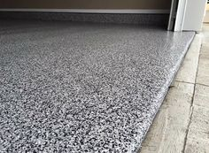 Modern Epoxy Flooring Paint Ideas For Garages With Black And Grey Flakes