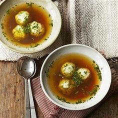 Matzo ball soup and poached chicken from Delicious Magazine (UK), April 2014 by Richard Ehrlich