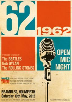 1962-influenced Open Mic Night Poster