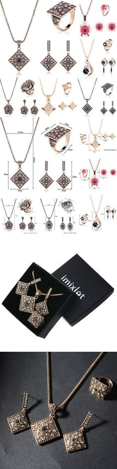 Jewelry Sets 50692: Imixlot Flower Crystal Pendant Necklace Earrings Set Silver Plated Jewelry Set BUY IT NOW ONLY: $45.19