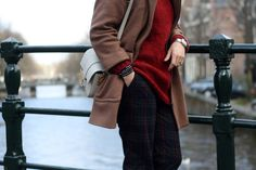 tartan pants, maxi jumper, camel coat, amsterdam, selfdressed, redhaired, streetstyle