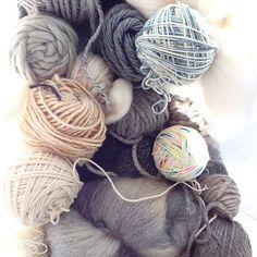 Some of my neutrals. Looking for inspiration. #neutrals #greyandwhite #yarnfordays #sunshine #inspiration #weaving #knitting #ohwhattodo #its40degrees #loom #yarnstash #fibrestash by rovingtextiles