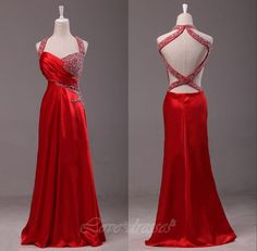 Red Chiffon Hang A Neck Long Prom Dresses Beads Backless Evening Party Dresses S274 on Luulla