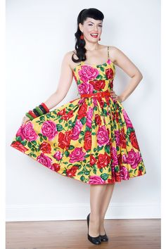 Bernie Dexter Chelsea Dress in Yellow Rose Print at Campbell Crafts