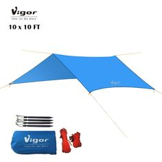 Vigor Waterproof Rainfly 10x10 ft Large Tent Tarp for Camping and Snow Protection with Reflective Rope and Windproof Stakes ** This is an Amazon Affiliate link. Want to know more, click on the image.