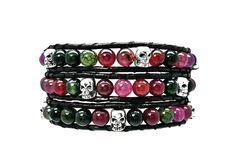 Tourmaline and Silver Tone Skull Beads on Ink Black Leather! $40. https://www.keeleykendall.com/#shawndajones