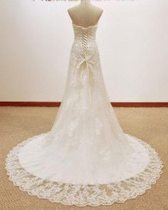 Fantastic/Romatic lace wedding dress with beautiful long train Simple white lace wedding dresses10% off discount on Etsy, $259.00