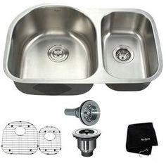 Kraus 16-Gauge Double-Basin Undermount Stainless Steel Kitchen Sink