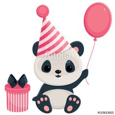 Vettoriale: Birthday panda with gift box and balloon