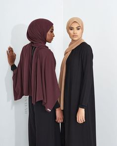 Modest fits paired with contemporary style; upgrade your INAYAH look with our A/W Hijabs! Grape Rayon Blend Jersey Hijab - Restocked Black Wrap Front Coat - Restocked Iced Coffee Soft Crepe Hijab  www.inayah.co