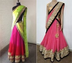 different styles of draping half saree                                                                                                                                                                                 More