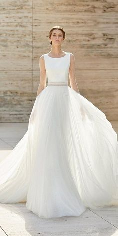 33 Cute Modest Wedding Dresses To Inspire ❤ modest wedding dresses with illusion sleeves simple rosa clara #weddingforward #wedding #bride