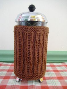 French Press Cozy. Genius!  I need this pattern...but in crochet, not knit!  :-)