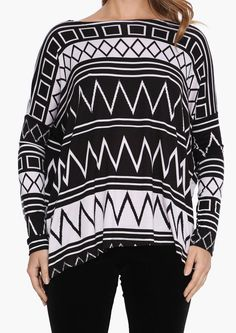 One Too Many Aztec Top in Black/white | Necessary Clothing