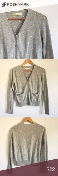 ModCloth Gray Polka Dot Cardigan Cutie cardigan from ModCloth. Gray with pink polka dots, two front pockets and cream colored buttons. 60% cotton, 40% polyester. Size small. Pre-loved, great condition! ModCloth Sweaters Cardigans