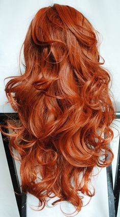 Thanksgiving long red hair wig on chair MSS Lookings up CH red shoes da n ce