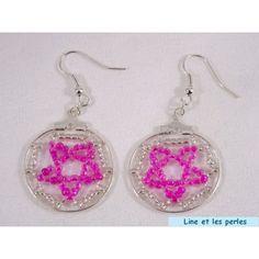 Boucles d'oreilles cercle rose et argent