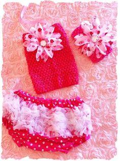 3 PC SET Lady bug, bloomers, crochet top and headband