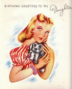 Vintage 1950s UNUSED Birthday Greetings To My Daughter Card B70