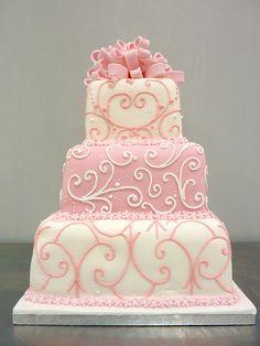 3 tier piped pink present wedding cake by lacremepatisserie, via Flickr