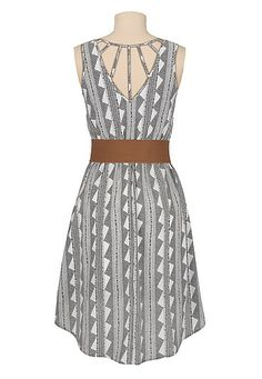 printed high-low belted cage back dress 30% Off Your Order